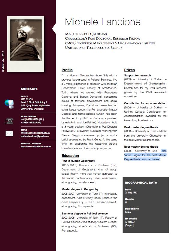 Michele Lancione Curriculum Vitae